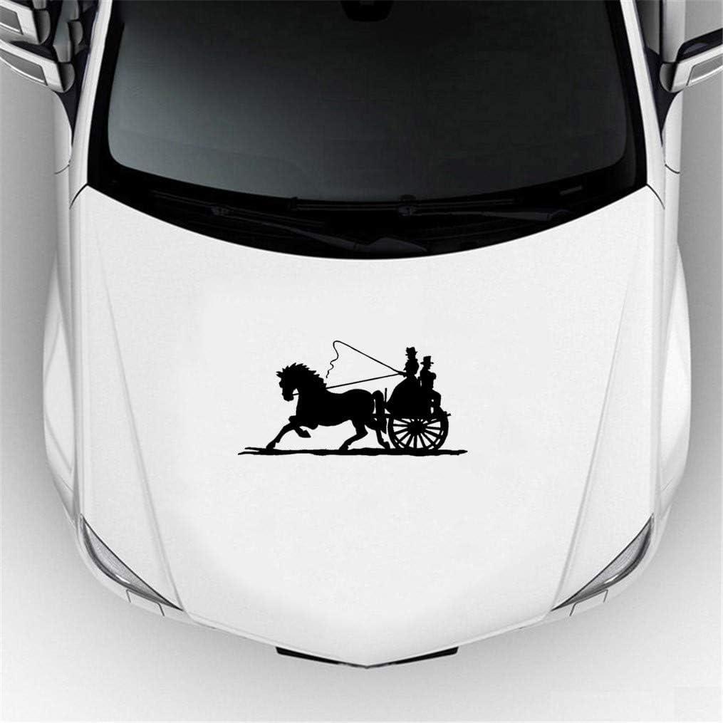 Pegatinas Para Coche Con Nombre Calcomanía de carro tirado por caballos Car Styling Wagon Old Timey Fashioned Buggy Car Window Bumper Car Sticker