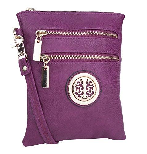- Mia K. Farrow MKF Collection Woman's Crossbody Bag Multi Zipper Travel Shoulder Messenger Purse Purple
