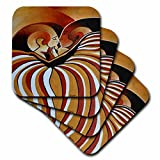 3dRose Touched by Africa African Themed Art of A Man and Woman Kissing and in Love - Soft Coasters, Set of 8 (CST_128358_2)