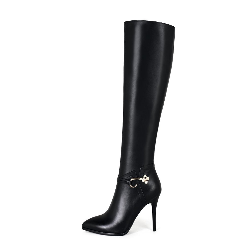 Dance&Style Women's Froie Autumn Winter Pointed Toe Stiletto Heels Knee High Boot B07DD9ZZCG 8 B(M) US|Black-a