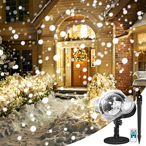 Christmas Projector Lights, YUNLIGHTS Snowfall LED Lights Snowflake Rotating Projector Lights with Remote Control, Waterproof Outdoor Christmas Lights Night Light for Christmas Bedroom Decoration