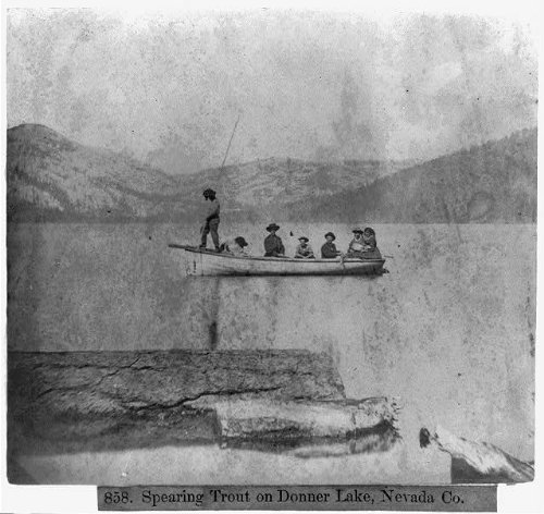 HistoricalFindings Photo: Spearing trout on Donner Lake,Nevada County,California,CA,Sierra -