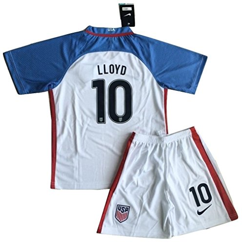 Kids Carli Lloyd #10 USA National Home Jersey and Shorts for Kids/Youth (Ages - Lloyd 10