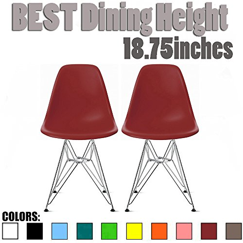 2xhome Set of Two 2 – Plastic Style Side Chair Chrome Wire Legs Eiffel Dining Room Chairs No Arm Arms Armless Molded Plastic Seat Dowel Leg Red