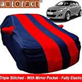 Autofact Car Body Cover for Maruti Swift (Mirror Pocket, Premium Fabric, Triple Stiched, Fully Elastic, Red/Blue Color)