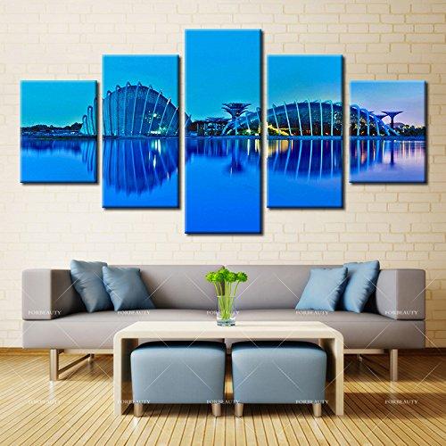 5パネル現代ホーム壁アートHD画像キャンバスPrintingsリビングルーム装飾テーマRepublic of Singapore B076P5B4N4