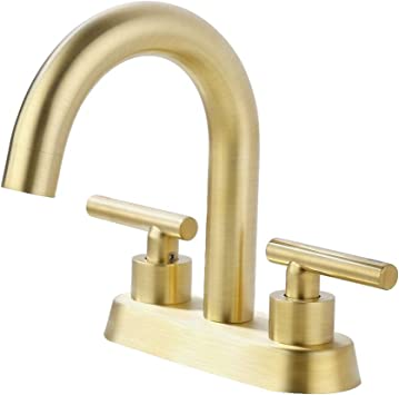 Kes Brushed Gold Bathroom Faucet Modern 4 Inches Centerset Vanity Faucet Brass Construction Brushed Brass Finish L4117lf Bz Amazon Com