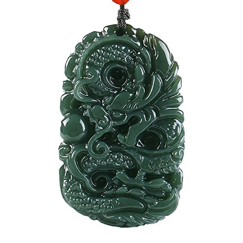 Pure natural hand carved qing jade dragon necklace pendant