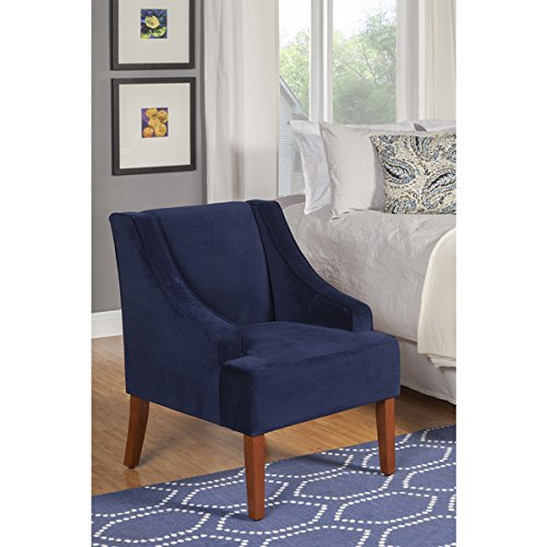 Navy Swoop Velvet Cushioned Living Room Accent Arm Chair w/ Wooden Legs by HomePop