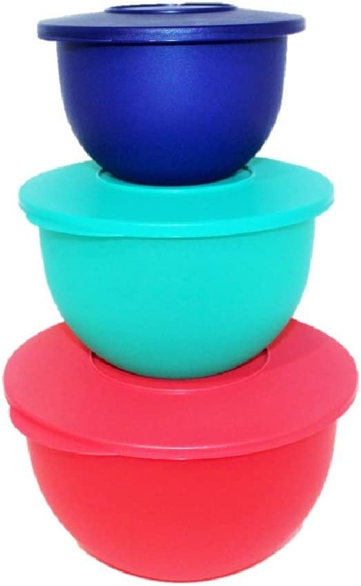Tupperware Set of 3 Impressions Classic Nesting Bowls in 5.5, 10 & 18 Cup Sizes - Tokyo Blue, Parrotfish, Emberglow