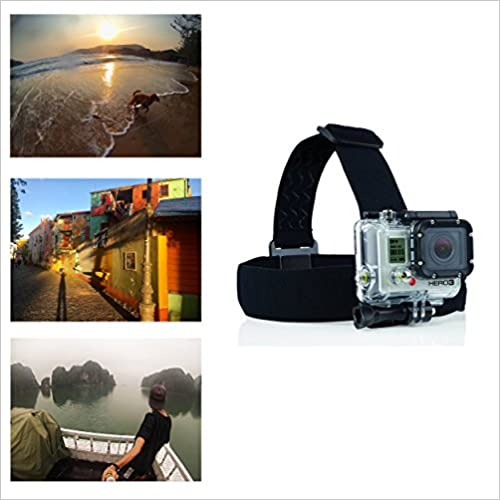 Navitech Helmet Headband Head Strap Mount For The Dragon Touch Vision 3 4K WiFi Sports Action Camera