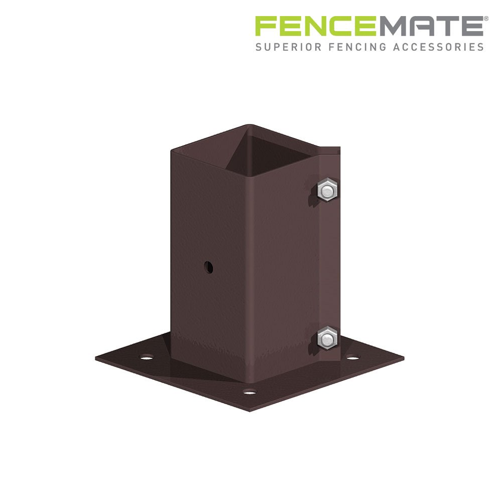 Fencemate Swift Clamp Bolt Down Post Support 90mm x 90mm Epoxy Brown