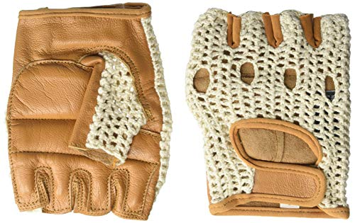 Kango Fitness Real Soft Leather Mesh Net Fingerless Driving Weight Training Cycling Wheelchair Gloves W-1037 (Large)