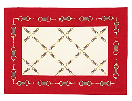 Indian Cotton Placemats for the Kitchen Table - Red Offwhite Geometrical- Set of 6 Washable 13'' x 19'' Place Mats by ShalinIndia
