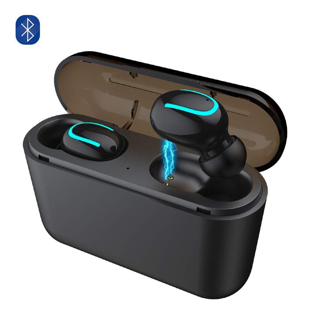 VOANZO Bluetooth 5.0 TWS ワイヤレスイヤホン ワイヤレスインイヤーヘッドホン ワイヤレススポーツBluetoothヘッドセット IPX5防汗Bluetoothヘッドホン マイク2600mAh充電ケース付き ブラック B07RLBFV2K