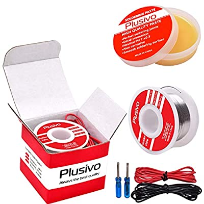 Solder Wire and Rosin Paste Kit - 60-40 Tin Lead Rosin Core Solder Wire (0.6mm, 50g) and Rosin Paste Flux for PCB Electrical Soldering and DIY from Plusivo