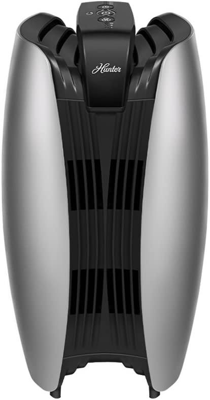 HUNTER HT1715 Air Purifier with ViRo-Silver Carbon Pre-Filter and HEPA+ Filtration, for Allergies, Germs, Dust, Mold, Pets, Smoke, Pollen, Odors, for Small to Medium Rooms, Titanium/Black
