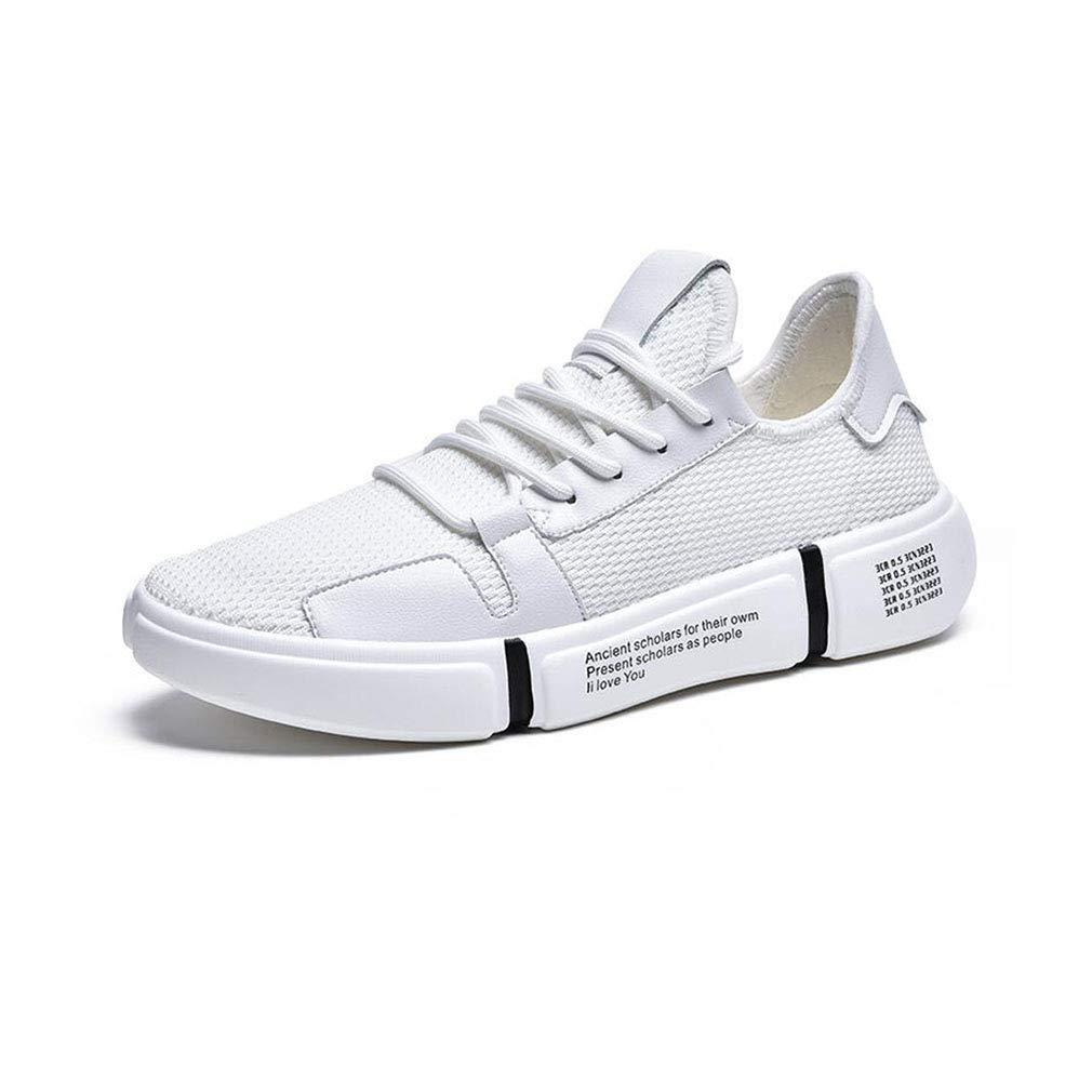 ECSD Mode Herrenschuhe, Spring Running Schuhe Flyknit Mesh Outdoor Sports Freizeitschuhe Turnschuhe (Farbe   Weiß, größe   EU40 UK7 CN41)