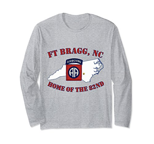 - Unisex Fort Bragg Military Base-Army Post- Long Sleeve T-shirt Large Heather Grey