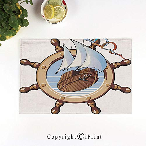 LIFEDZYLJH Everyday Place mat for Dinner Parties,Summer Outdoor Picnics,Set of 4,Machine Washable,Image of Ship is in Framing of Steering Wheel Adventure Nautical Theme Artwork Print,Brown Blue
