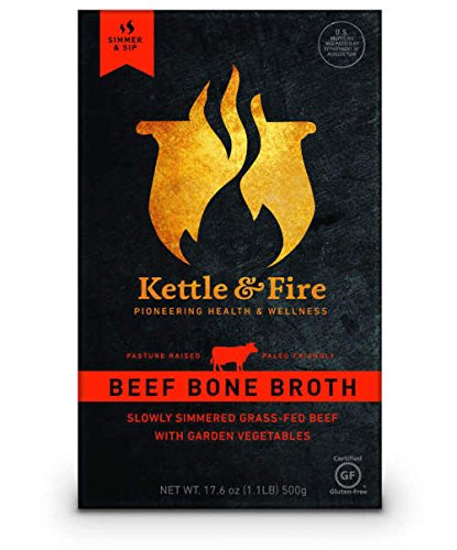 Kettle & Fire Beef Bone Broth (1) 16.2 Ounce Shelf-Stable Carton, 100% Grass-Fed, Organic Collagen-Rich Beef Bone Broth, Gluten-Free, Paleo-Friendly (Organic Grass Fed Beef)