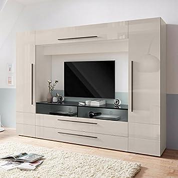 generic mediawand wohnzimmer wohnwand kaschmir hochglanz ausstellungsstuck 457702