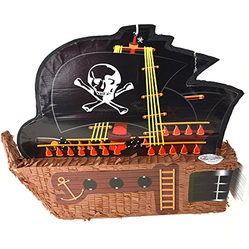 Homeford Pirate Ship with Sail Pinata, Brown, ()