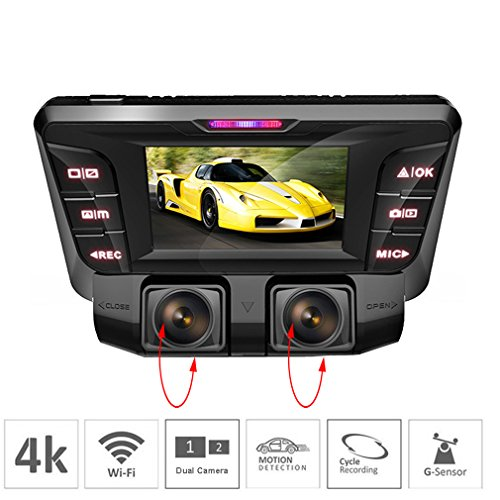 ShiZhen Hidden 4K Dash Cam car DVR Dual Channel 1080p+1080p Full HD Wide Angle WDR WiFi 2160p Dashboard Camera, Night Vision, Loop Recording,Parking Monitor,Motion Detection