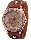 Lady Women Constellations Pattern Rose Gold Crystal Brown Leather Bracelet Quartz Wrist Watch WAA649
