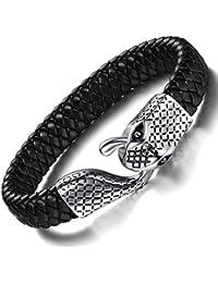 Men's Bracelet Braided Leather Bracelet Snake Simple Fashion Bangle Clasp Best Jewelry Gift for Men