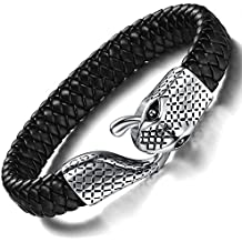 Ostan Men's Bracelet Braided Leather Bracelet Snake Simple Fashion Bangle Clasp Best Jewelry Gift for Men