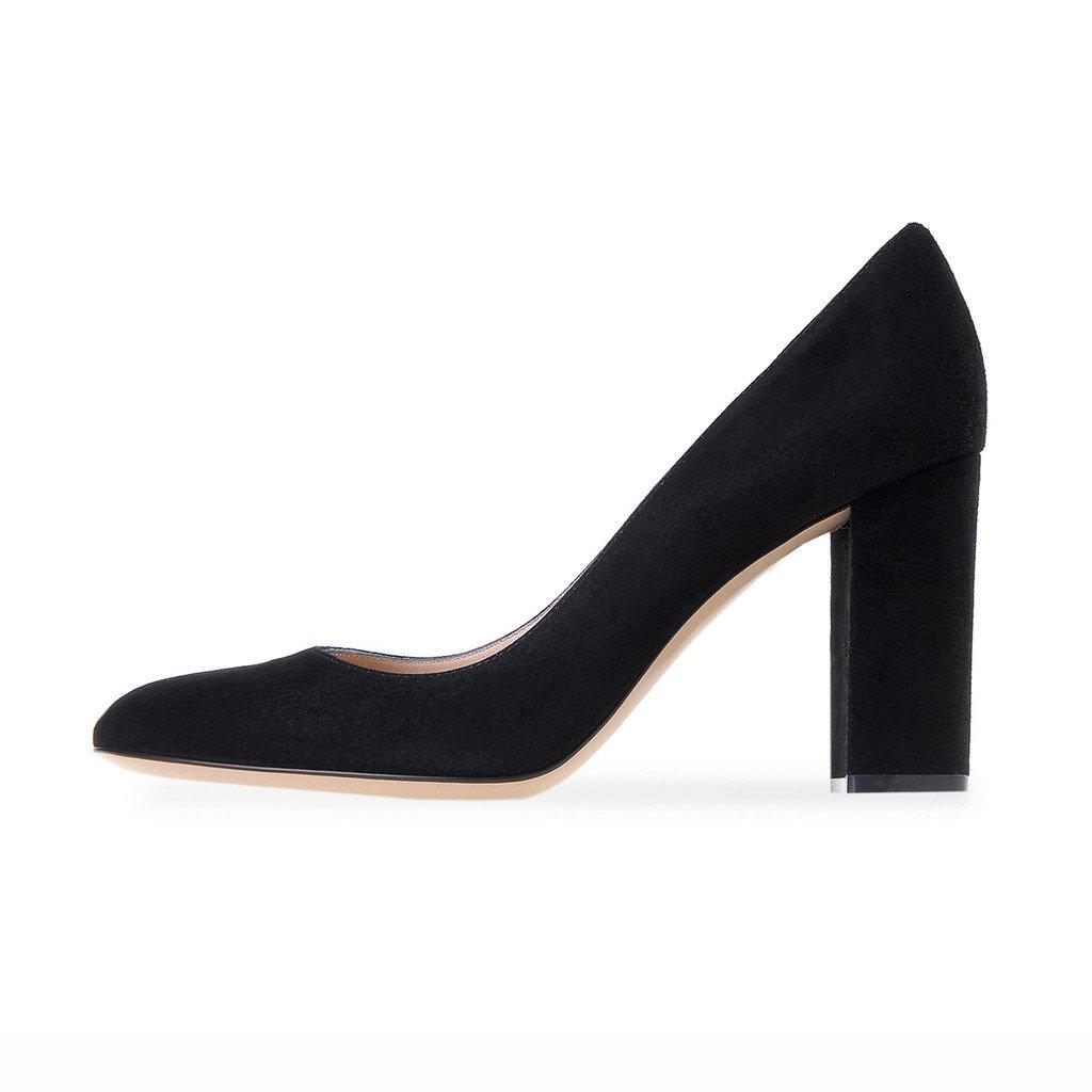 ELASHE Damenchuhe Blockabsatz Pumps   10CM Runde Spitze High Heel   Büro klassische Schuhe