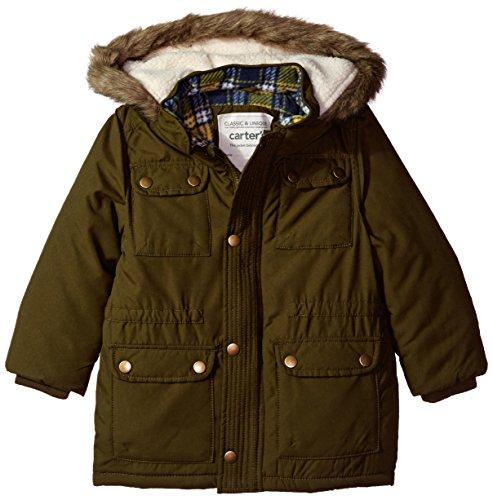 Carter's Little Boys' Heavweight Parka Jacket Coat, Olive Drab, (Boys Parka)