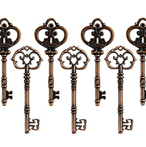 Mixed Set of 20 Extra Large Antique Copper Finish Skeleton Keys in Antique Style - Set of 20 Keys (Antique Copper)
