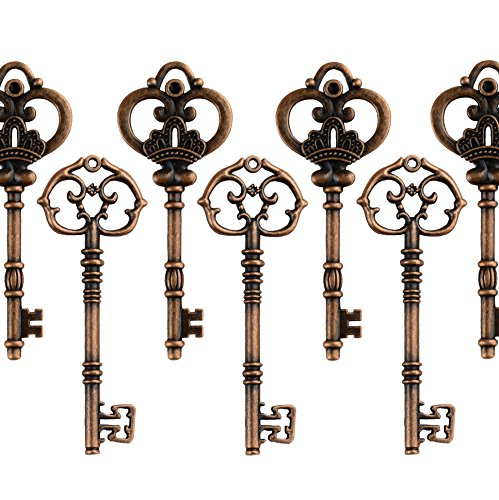 (Mixed Set of 20 Extra Large Antique Copper Finish Skeleton Keys in Antique Style - Set of 20 Keys (Antique Copper))
