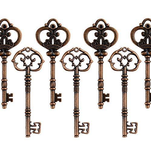 Makhry Mixed Set of 20 Extra Large Antique Copper Finish Skeleton Keys in Antique Style - Set of 20 Keys (Copper)