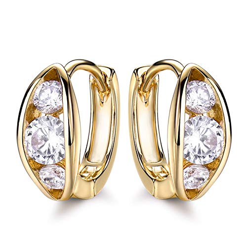 (Unique Design Pea Pods Shape Hoop Earrings for Women Female Cz Gold-Color Beans Shape Earrings for Wedding Jewelry Gle167)
