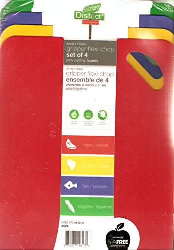 "Price comparison product image Gripper Flexi Chop Poly Cutting Boards,  Set of 4,  8"" x 12"""