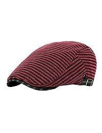 ACVIP Mens Cotton Stripe Newsboy Caps Driving Flat Hats