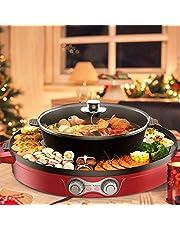 Kacsoo Elektrische Hot Pot Grill 2-in-1 verwijderbare Indoor BBQ Grill Pot met verdeler, aparte dubbele temperatuurregeling, aparte reiniging, capaciteit voor 6 personen.
