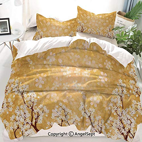 Homenon Floral Decor Decor Duvet Cover Set Twin Size,Trees Blossoms Buds Flowers of Spring Season Pedals Bodies in Wind,Decorative 3 Piece Bedding Set with 2 Pillow Shams