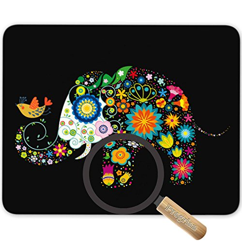 Bright Seamless Texture Beautiful Hand Painted Patterns Background Colorful Flower Elephant Bird Mouse Pad Office Desktop or Gaming Cloth Surface Natural Rubber Mouse Mat