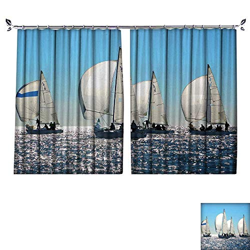 DESPKON Environmental Protection Material Polyester Sailing Regatta in Greece Four Back Lighted Boats with spinnakers Open for Living Room Window,Sun Insulation. W120 x L108
