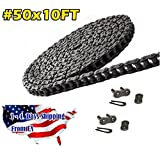 50 Roller Chain 10 Feet with 2 Connecting Links