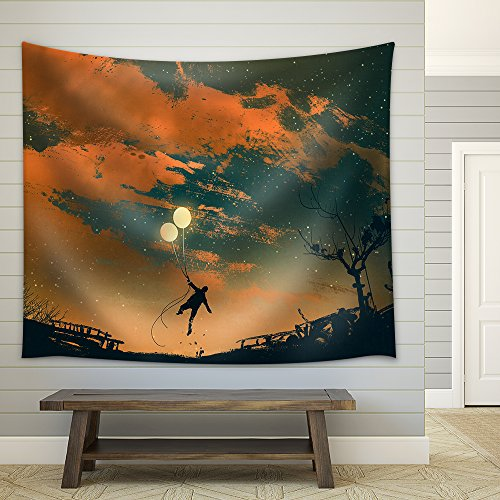 Illustration Man Flying with Balloon Lights at Sunset Illustration Painting Fabric Wall Tapestry