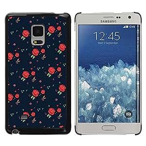 Rosas vestido retro del patrón de la moda - Metal de aluminio y de plástico duro Caja del teléfono - Negro - Samsung Galaxy Mega 5.8