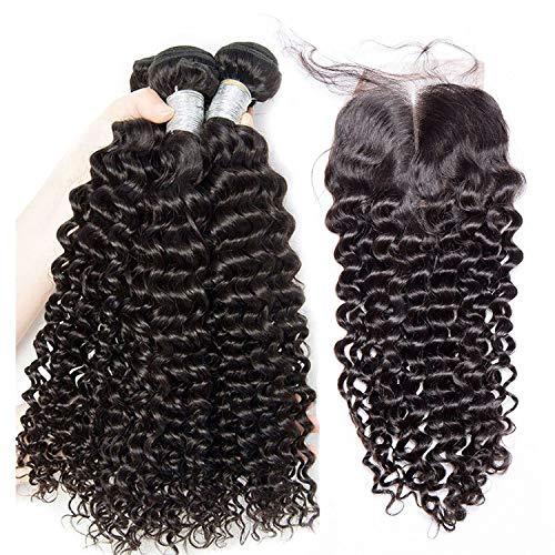 Brazilian Hair Weave Bundles With Closure 3 Bundles Human Hair 4 pcs/lot Deep Wave Bundles With Closure Remy Extension,18 18 20 & Closure16,Free Part