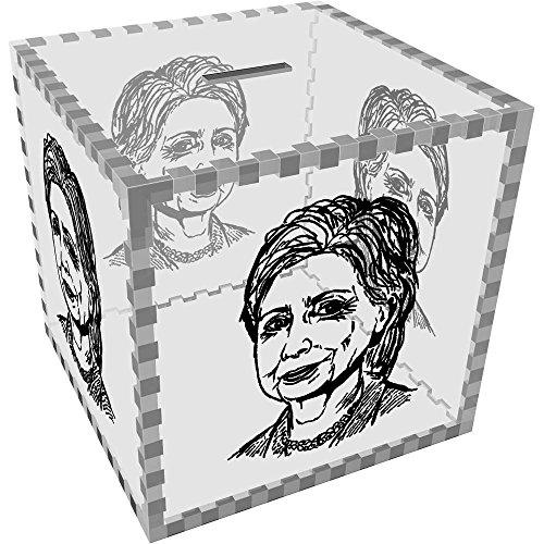 Large 'Hilary Clinton' Clear Money Box / Piggy Bank (MB00025498) (Clinton Case)