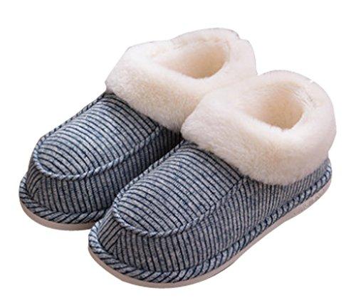 Cattior Heren Warme Comfortabele Indoor Outdoor Slippers Huis Schoenen Marine Blauw