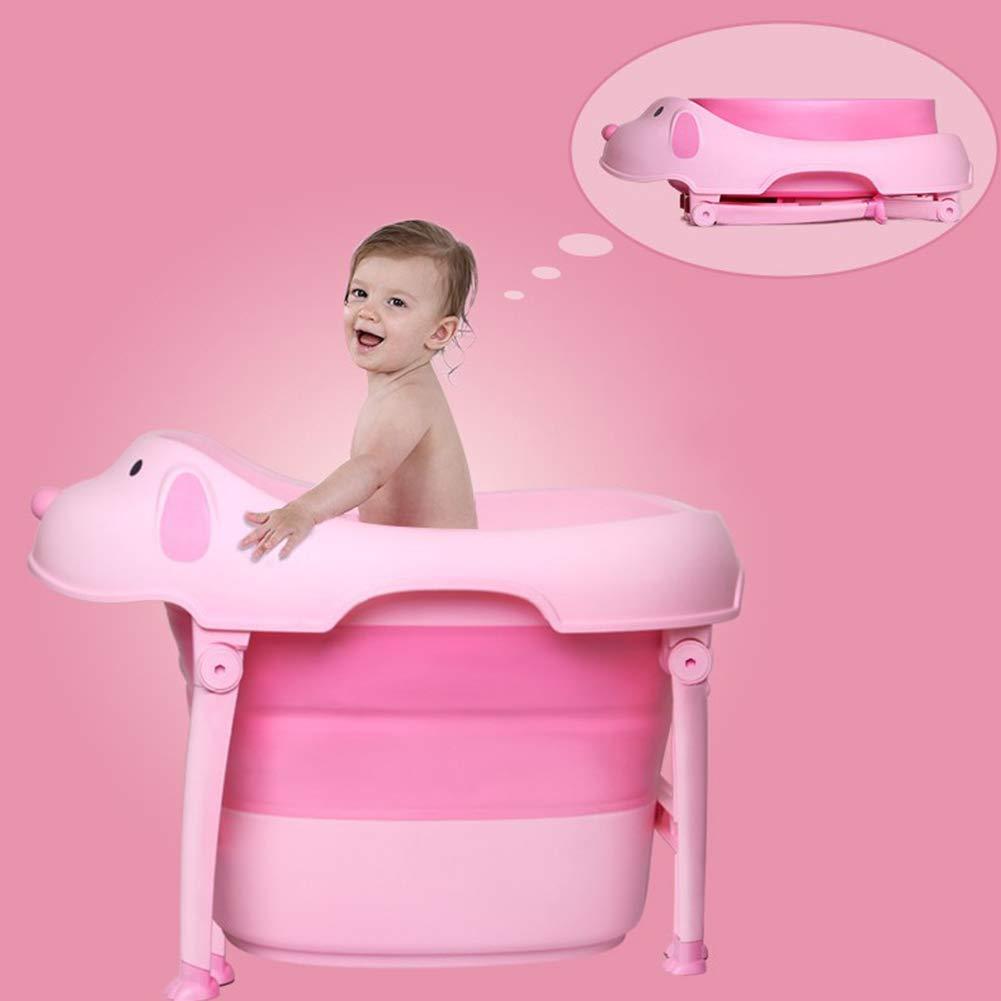 Children Safe Portable Foldable Bathtub, 29x21inch - Baby Bath Tub Kids Bath Tub Can Sit Lying Bath Tub for 6 Months to 10 Years Old Children (Pink) by Finebaby (Image #4)